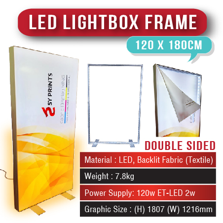 LED Lightbox Frame 120 x 180cm